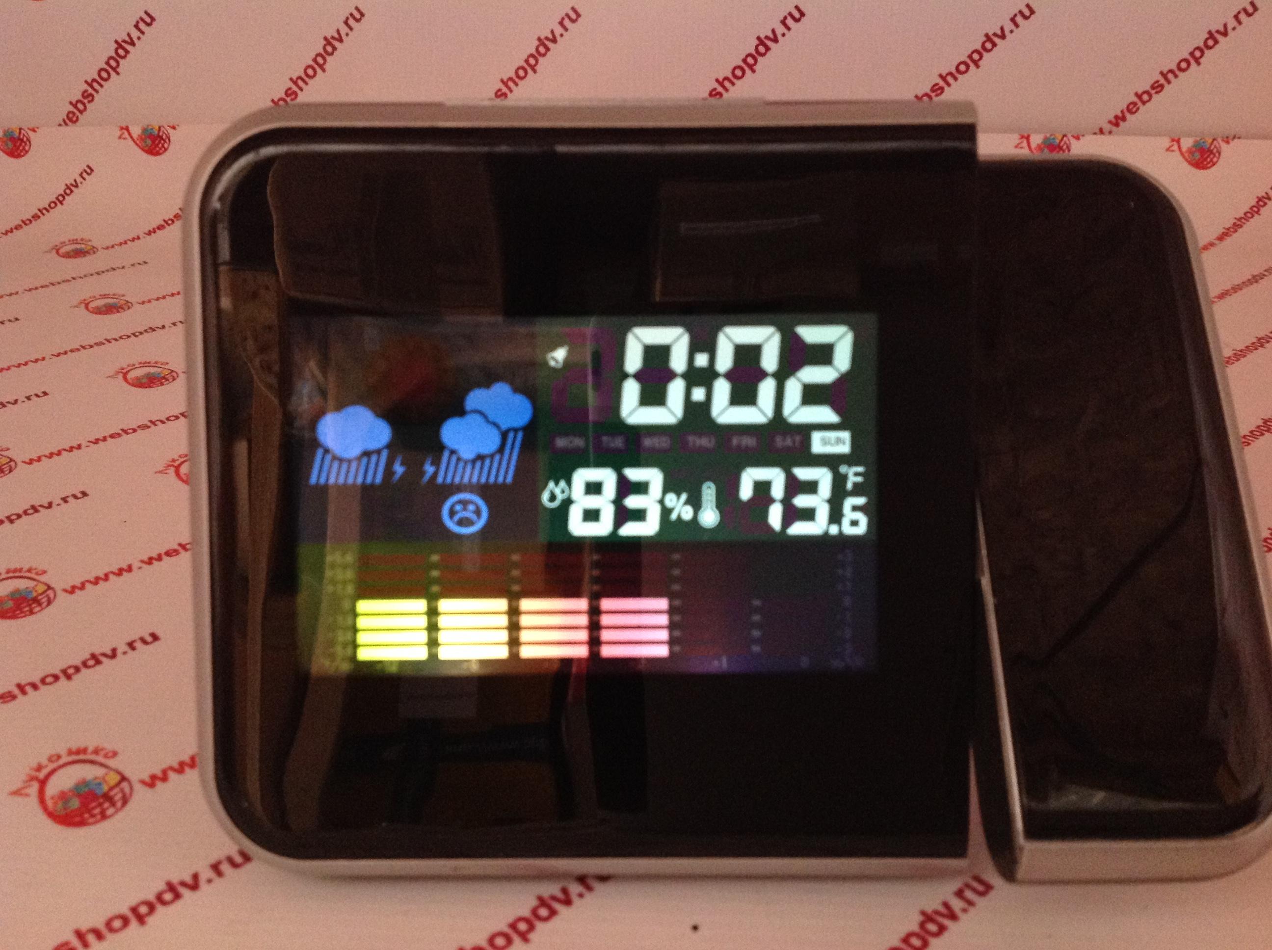 Часы проекционные с будильником и прогнозом погоды