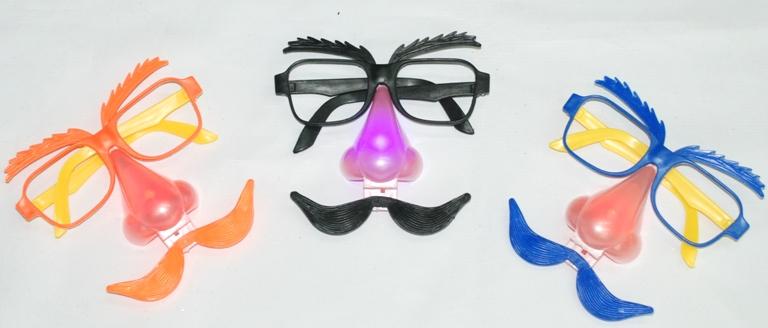 Маска очки с усами (светящаяся)