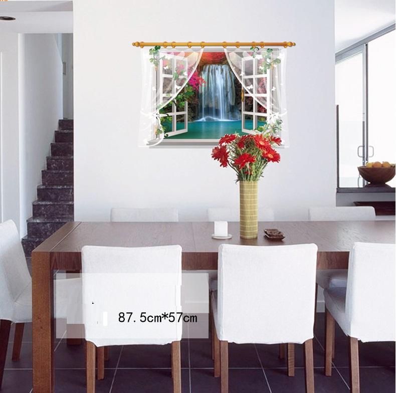 Виниловая наклейка Окно с видом на водопад 3D